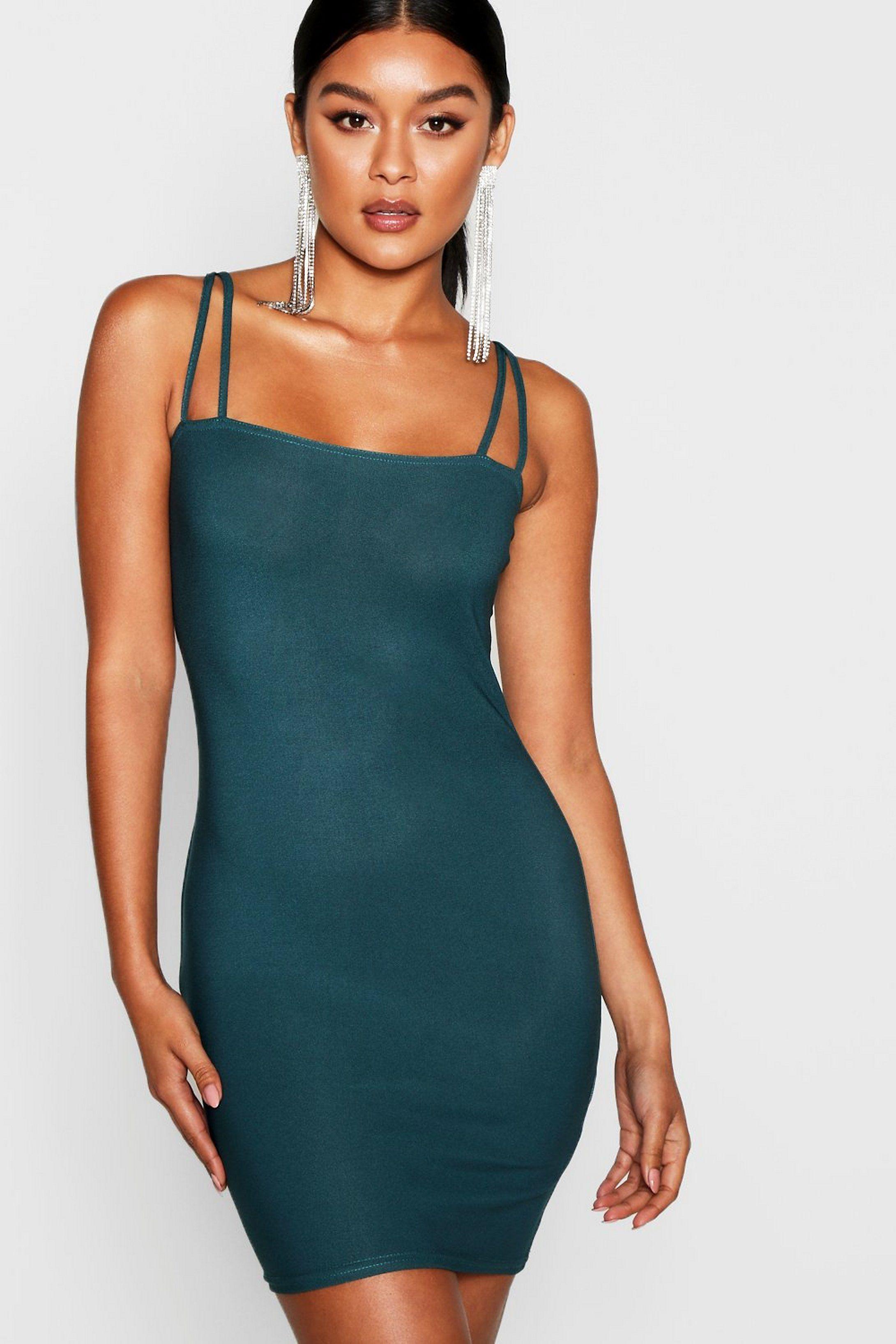 Square Neck Cross Strappy Bodycon Dress Boohoo In 2021 Bodycon Dress Bodycon Fashion Dresses [ 3272 x 2181 Pixel ]