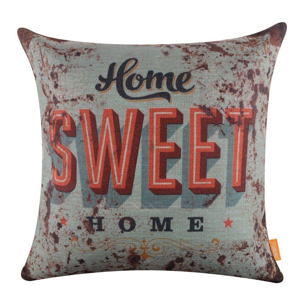 LINKWELL 18'x18' Metal Look Rusted Monogram Home Sweet
