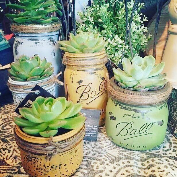 Chalk Painting Jars ~ Accented with Succulents = Amazing gift Idea!  #Recycled, #Repurposed, #Upcycled, #DIY, #REUSED, #chalkpaint #chalkpaintpowder #poppiespaintpowder #poppiesfurniturepaintpowder #worththeprice #favchalkpaint #boutiquebrands #costeffici