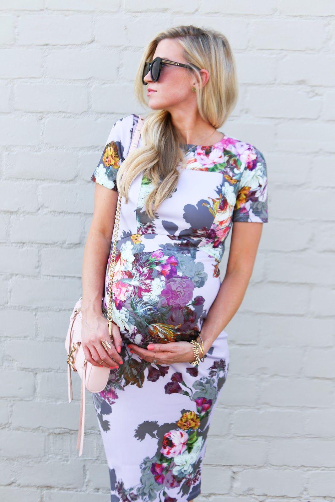 Mint Floral Chiffon Maternity Dress | Roupas para gestantes