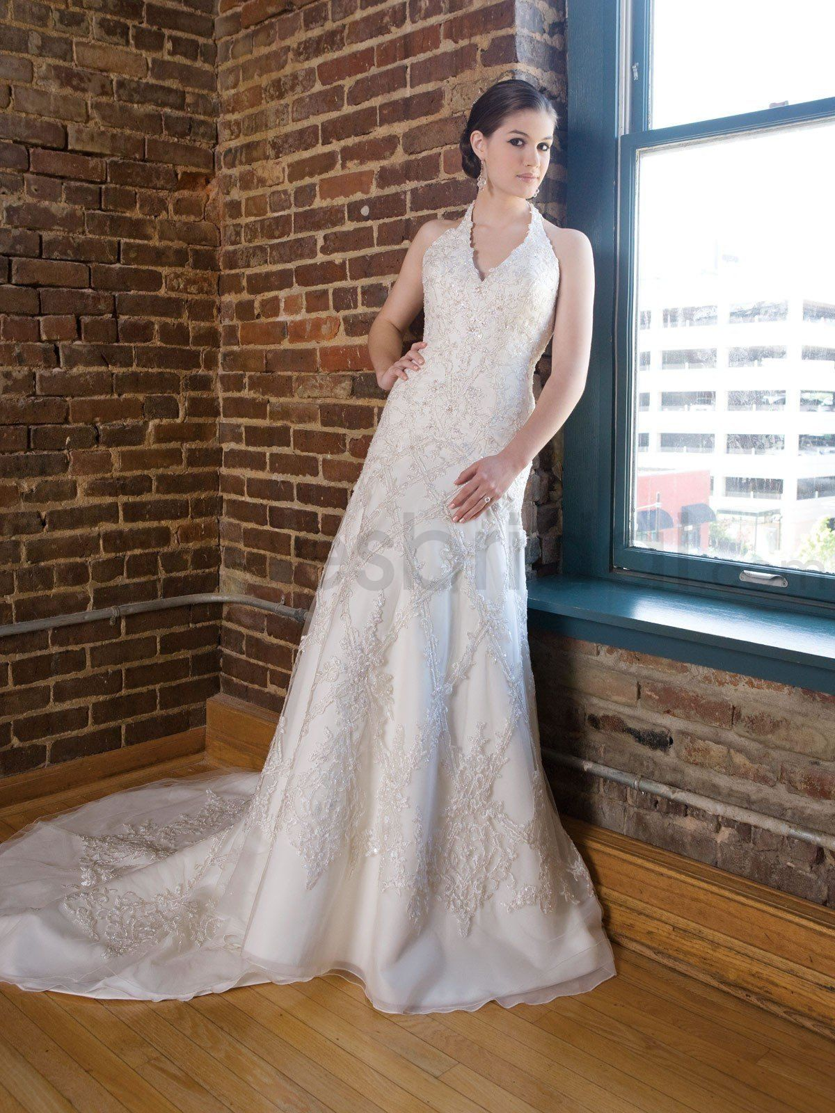 beaded lace halter wedding dress