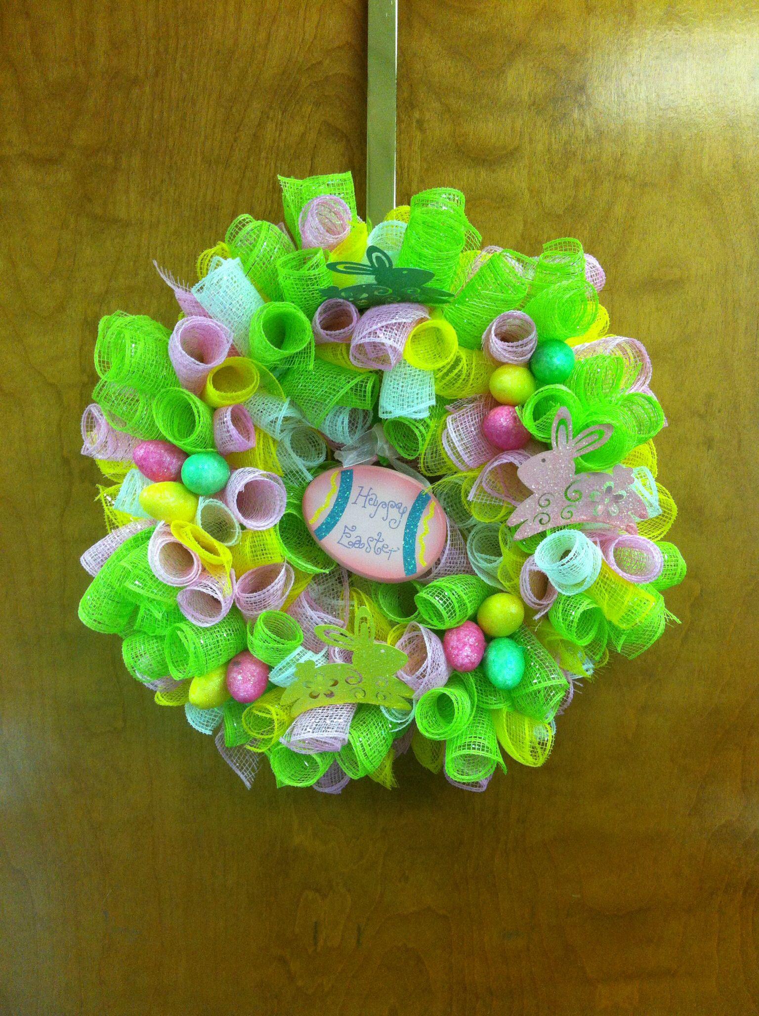 Easter decor mesh wreath
