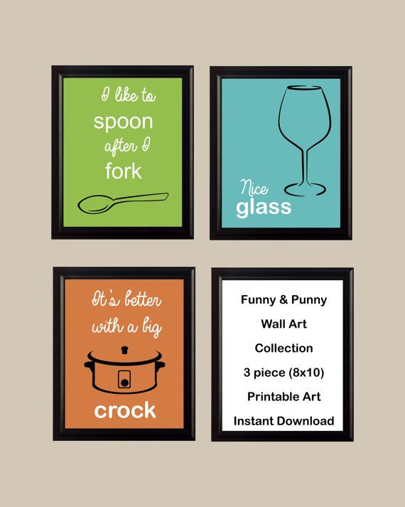 Funny Pun Kitchen Wall Art Set Printable Instant By Maxsprintables 9 00