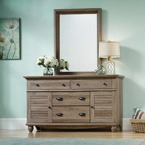 Best Sauder Harbor View 4 Dresser And Mirror Salt Oak Maybe As 400 x 300