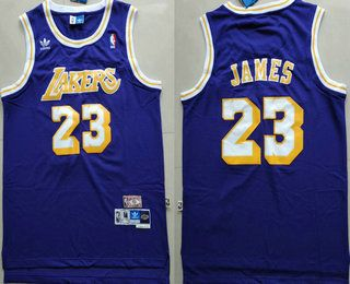 ced34b56d9c Men s Los Angeles Lakers  23 LeBron James Purple Swingman Stitched NBA  Throwback Jersey
