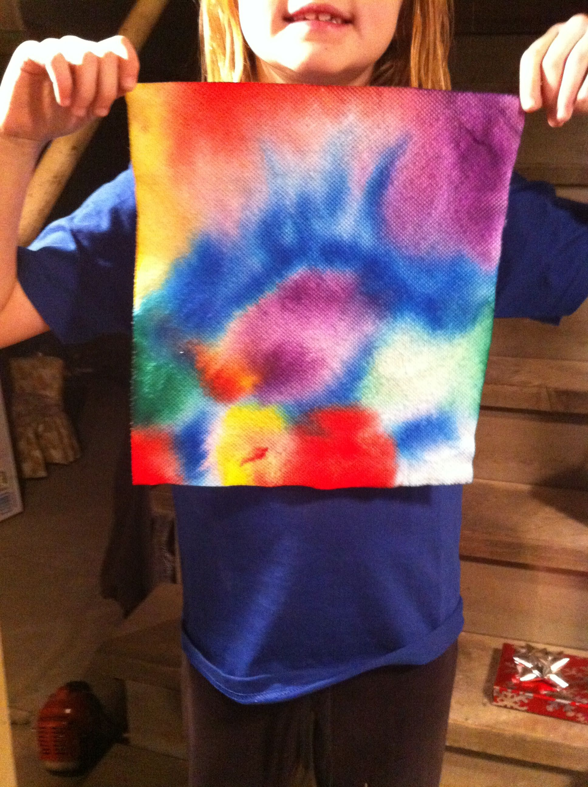 Paper Towel Paint With Marker Then Spray With Water From