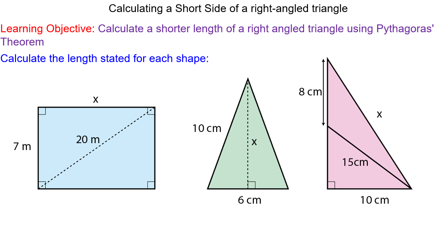Pythagoras' Theorem Shorter Sides Math lessons, Gcse