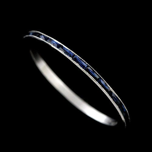 950 Platinum Super Thin 0.76CT French Cut Baguette Blue Sapphires Eternity Wedding Band on Etsy, $1,129.00