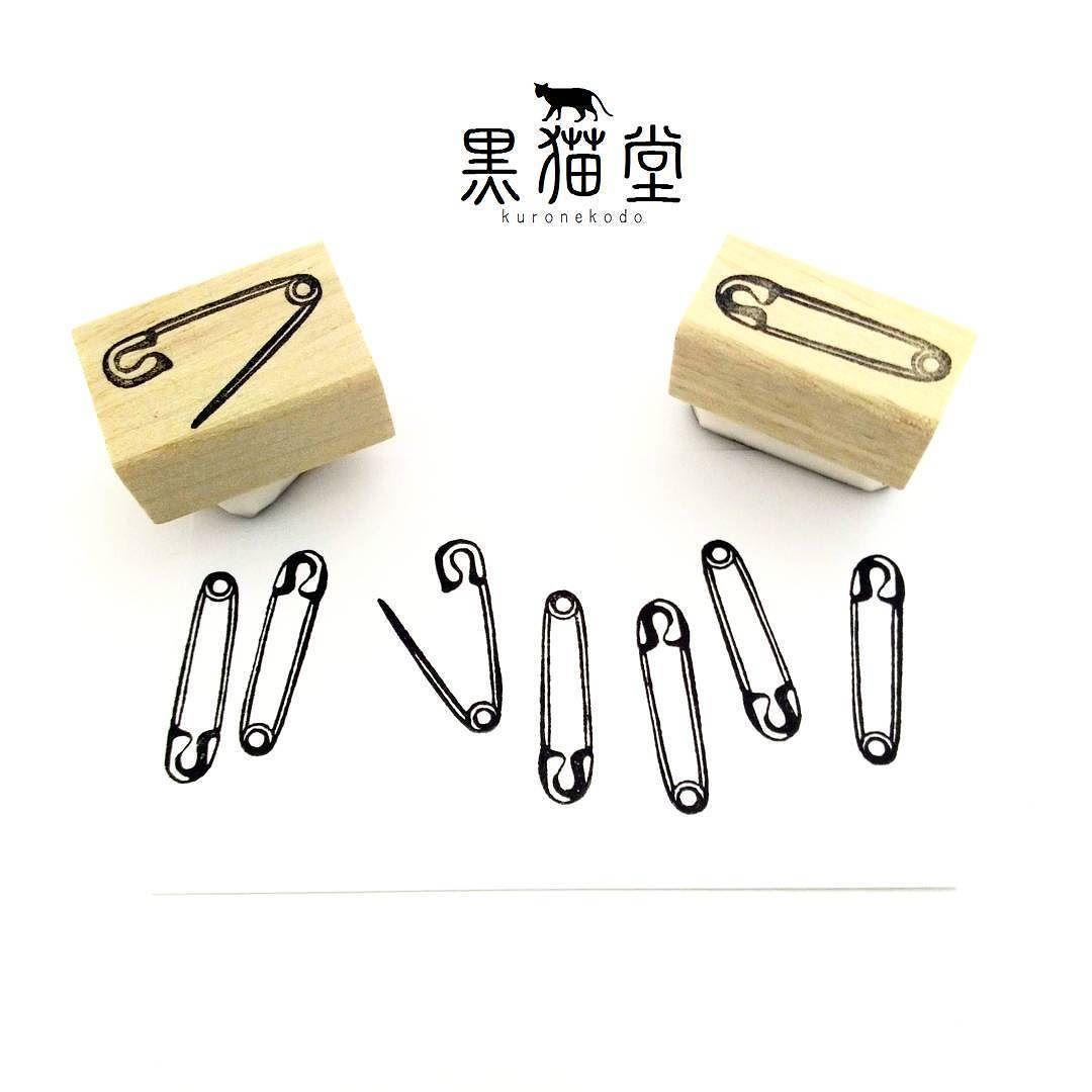 安全ピンの阿吽 A Safety Pin 消しゴムはんこ Stamp Handmade
