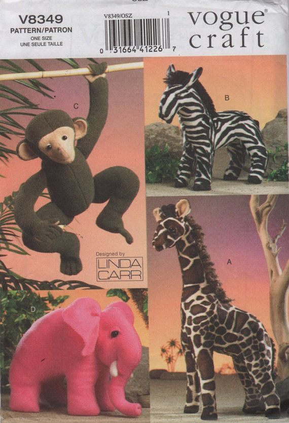 Vogue 8349 JUNGLE Zoo Stuffed ANIMAL Pattern Toy Monkey Giraffe ...