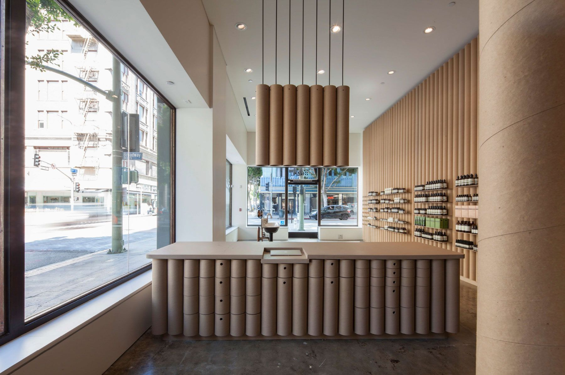 cool Brooks + Scarpa Creates AESOP DTLA Interior from Cardboard Tubes Check more at http://www.arch2o.com/brooks-scarpa-creates-aesop-dtla-interior-cardboard-tubes/