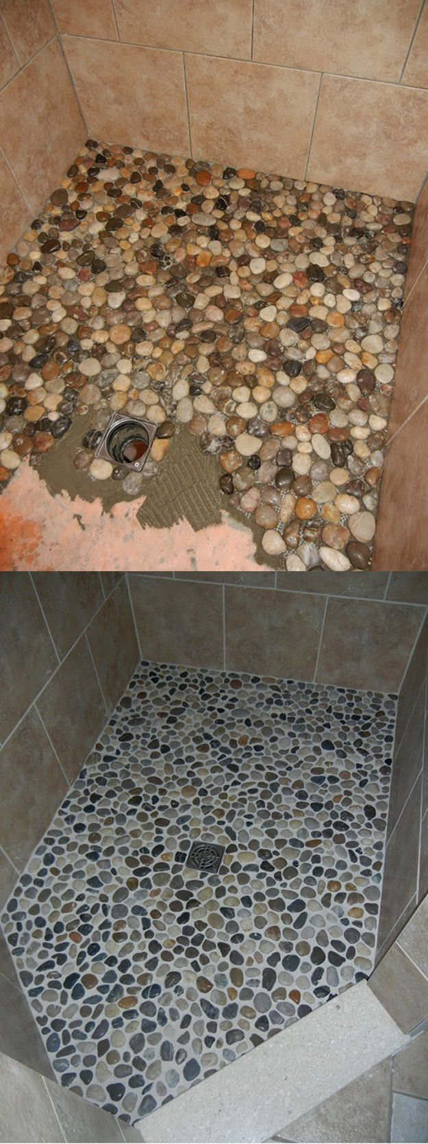 your shower floor an upgrade from river rock and grout DIY bathroom makeover  DIY and DIY decorationsbathroomGive your shower floor an upgrade from river rock and grout D...