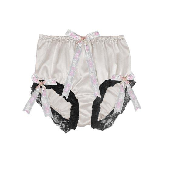 3ae102600f1f STB60 White Shiny Silk Satin Panties Full Briefs Panty Womens Underwear Men Handmade  Silk Knickers R