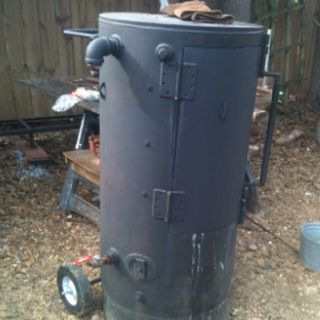 Vertical Smoker I made out of old commercial water heater