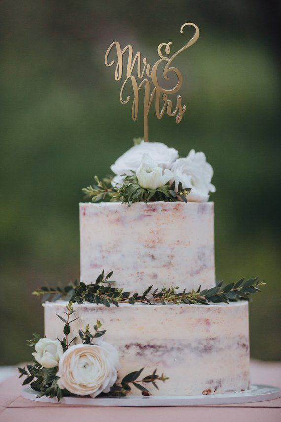 Wedding Cake Topper Mr and Mrs Rose Gold Rustic Wedding Cake Decorations for Wedding Personalized or