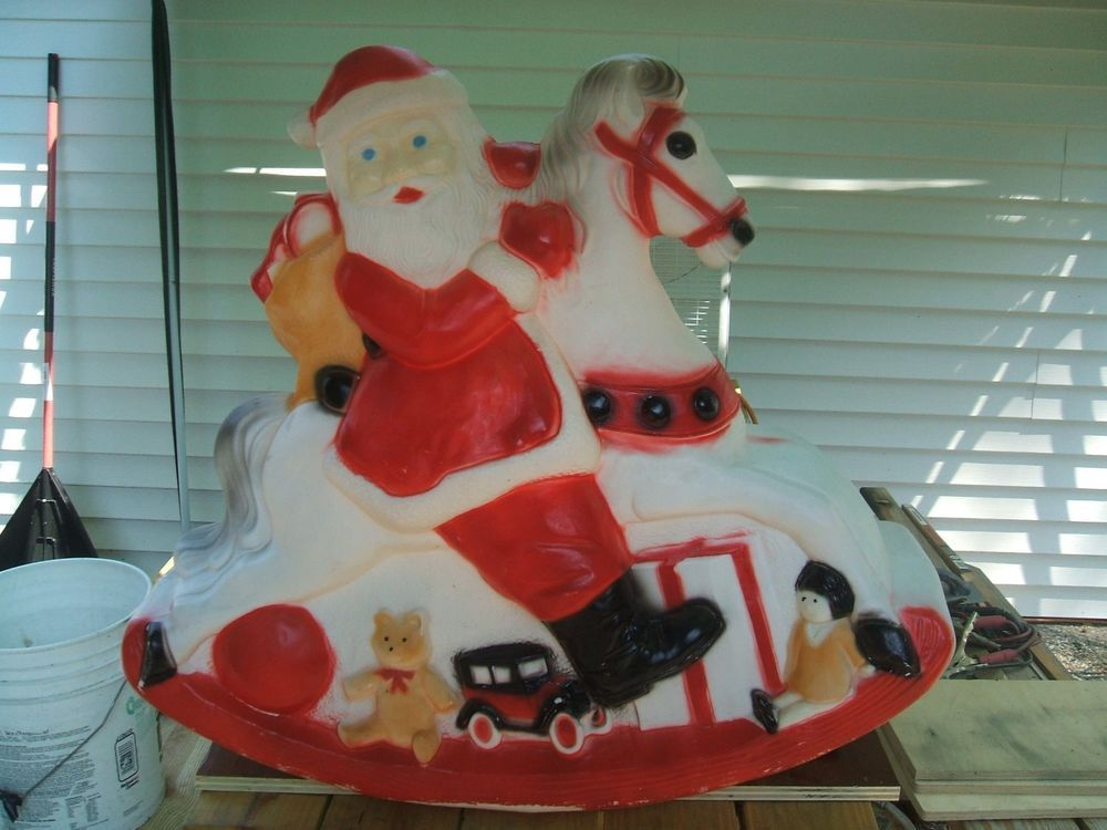 VINTAGE CHRISTMAS SANTA CLAUSE ON ROCKING HORSE BLOW MOLD LIGHTED PLASTIC