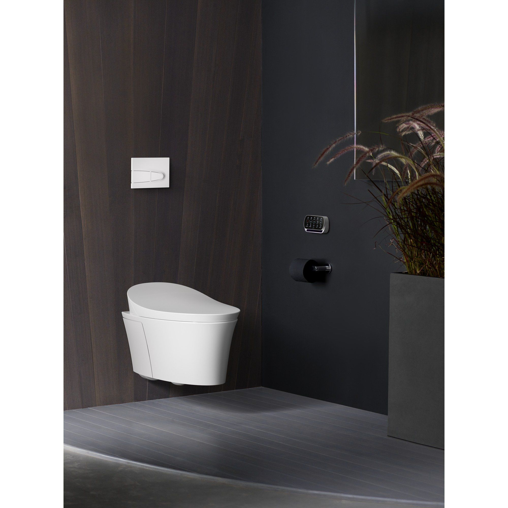Kohler Veil Intelligent Wall Hung Toilet Here It Is In A Wall Hung Application Pretty Cool Imagine How Easy It Is T Wall Hung Toilet Bathroom Trends Kohler