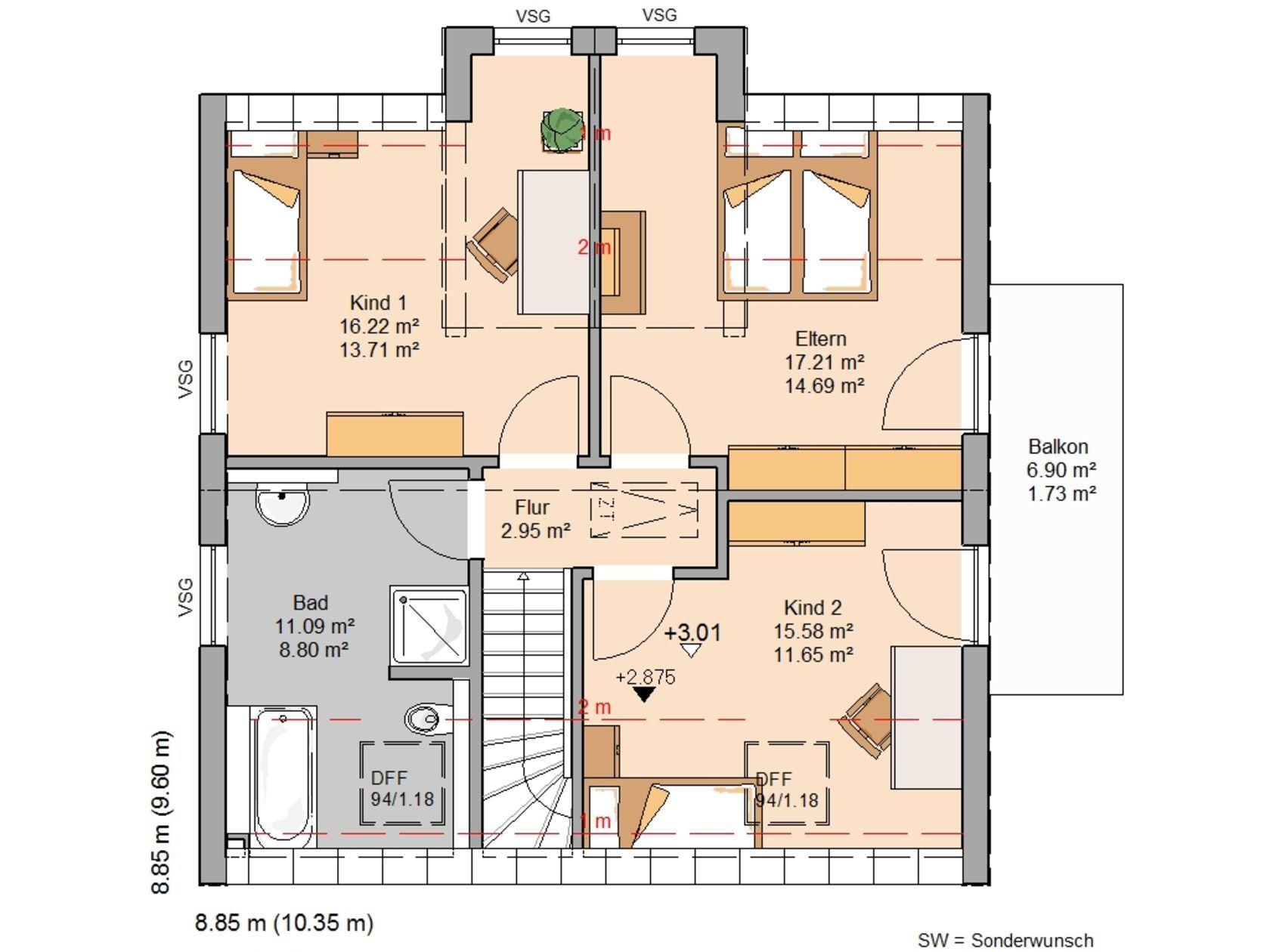 Kern-Haus Familienhaus Esprit Trendline Grundriss Dachgeschoss ...