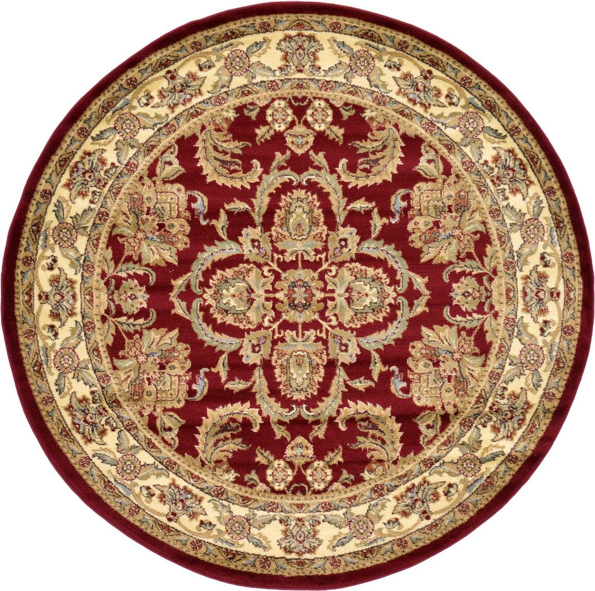 Aditi Red 6 Ft Round Area Rug In 2020 Round Area Rugs Area Rugs