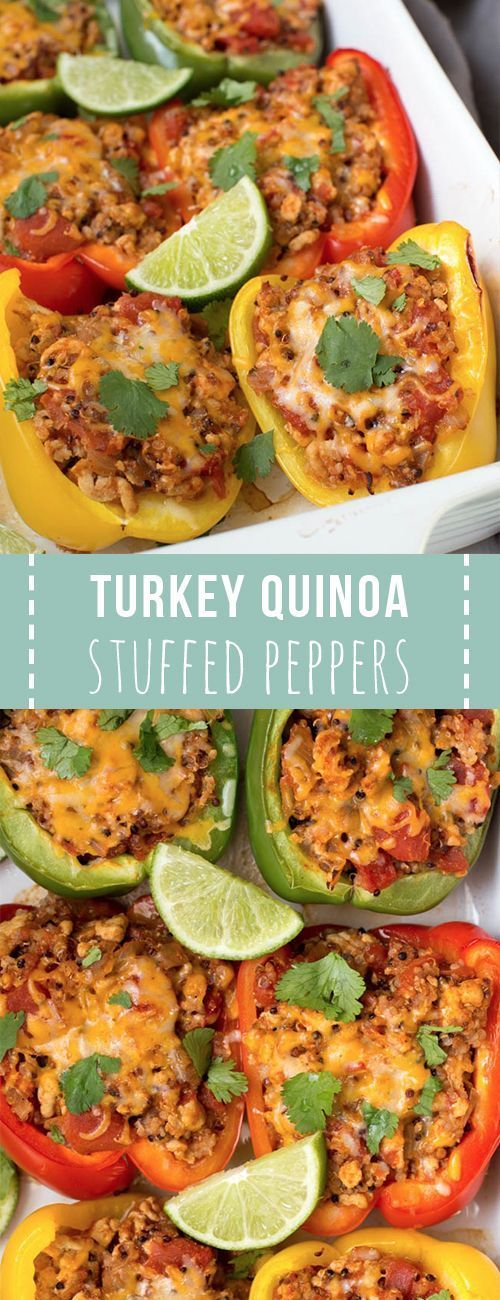 Ground turkey stuffed peppers with quinoa is an easy stuffed peppers recipe. Prep this recipe in only 15 minutes before baking in the oven! The entire family will love this easy dinner recipe.