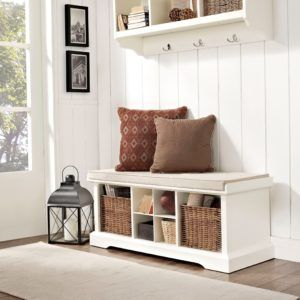 Storage Bench With Coat Rack White