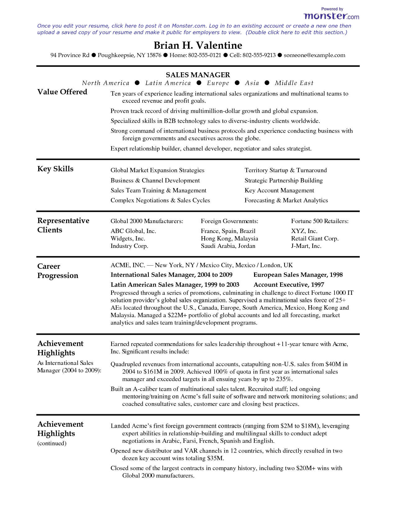 templates for sales manager resumes | SALES MANAGER - Your Resume ...