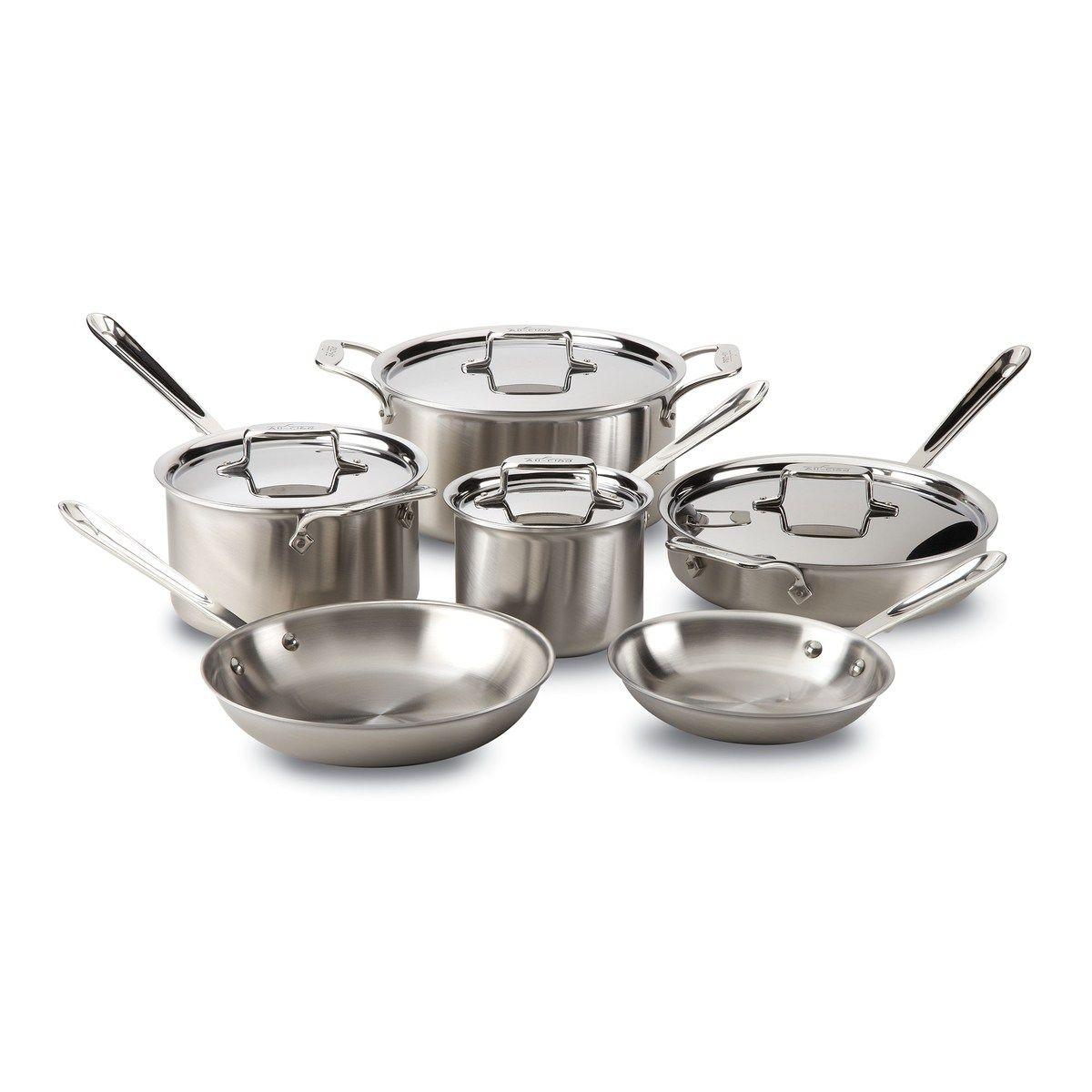 Batterie De Cuisine All Clad 10 Pieces D5 A 5 Plis In 2020 Dishwasher Safe Cookware Cookware Set Stainless Steel Safest Cookware
