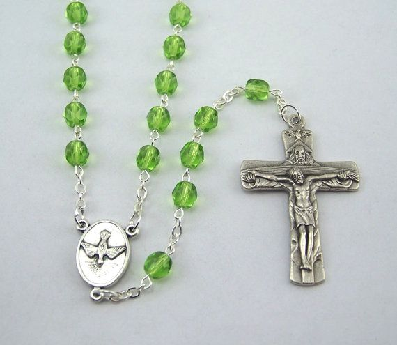 Holy Spirit Holy Family Light Green Rosary 75 by FaithHopeAndBeads