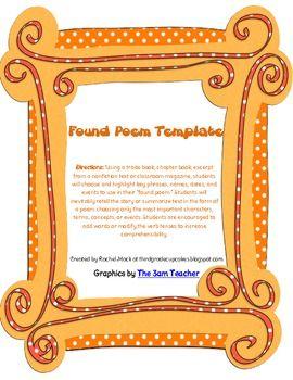 freebie found poem template school pinterest poem template and retelling. Black Bedroom Furniture Sets. Home Design Ideas