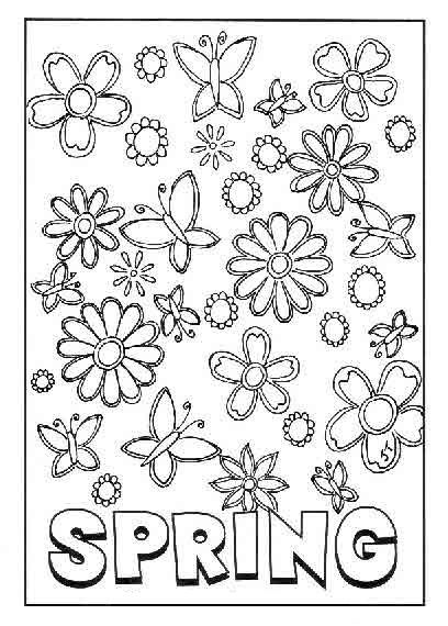 spring symbols flowers and butterfly coloring pages for kids printable spring coloring pages for kids