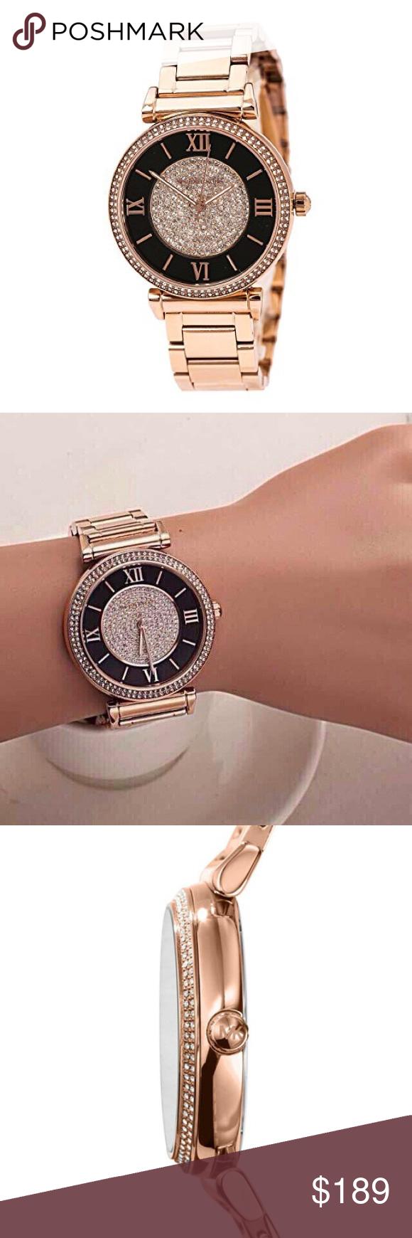 74325bf10a5d Michael Kors mk3339 Catlin Black   Rose Gold Watch Authentic Michael Kors  Ladies Catlin Watch Black