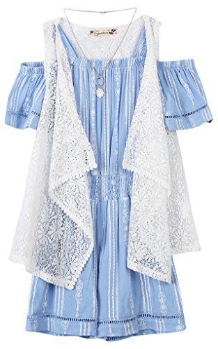 8ae23344293 Speechless Big Girls  Off The Shoulder Romper with Vest