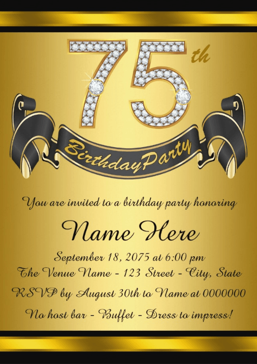 75th Birthday Invitations 75th birthday parties Party