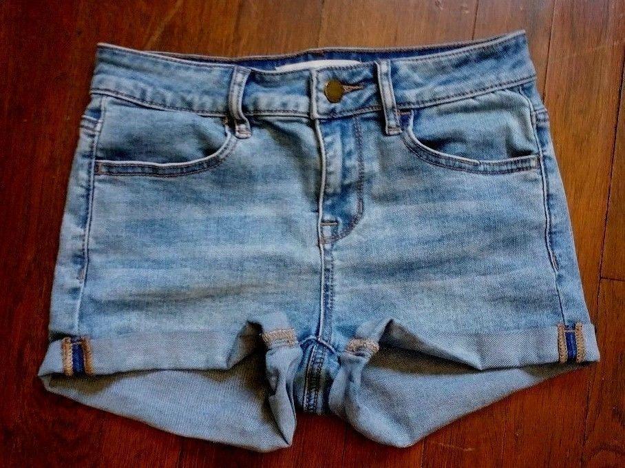 Bullhead Blue Jean Denim Super Stretchy Shorty Shorts Juniors Size 1 25 #Bullhead #CasualShorts