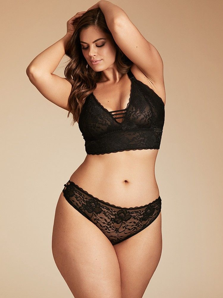 823ff663895 Gemma Crisscross Strappy Back Lace Bralette by Hips and Curves ...