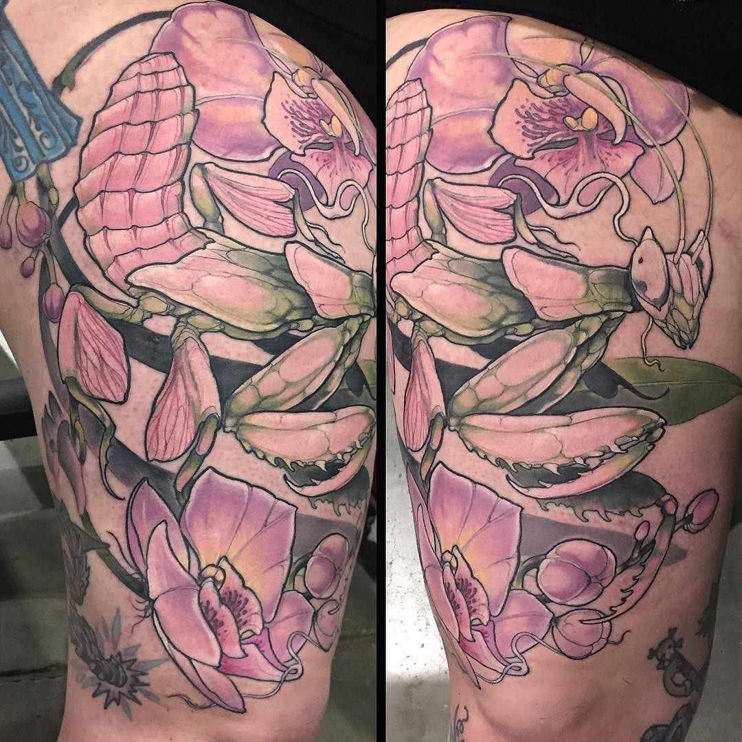 Orchid Mantis By Tattoosbymisskaija At Sacred Heart Tattoo In Vancouver Canada Sacredhearttattoo Mantistat Mantis Tattoo Sacred Heart Tattoos Insect Tattoo