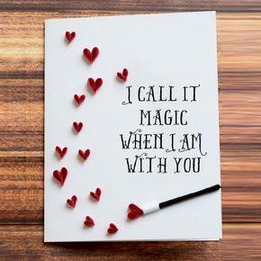 Grußkarte. Ich nenne es Magie wenn ich bei dir bin. Herzdusche Quilled Kunst zu gestalten. Ehemann Ehefrau. Geburtstagsgeschenkidee für Verlobte