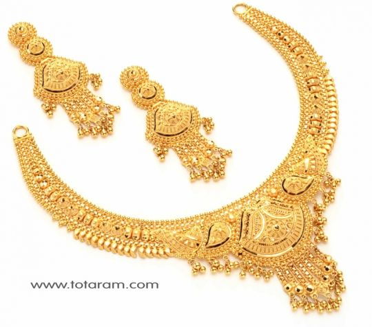 Check out the deal on 22 karat Gold Necklace Drop Earrings Set at