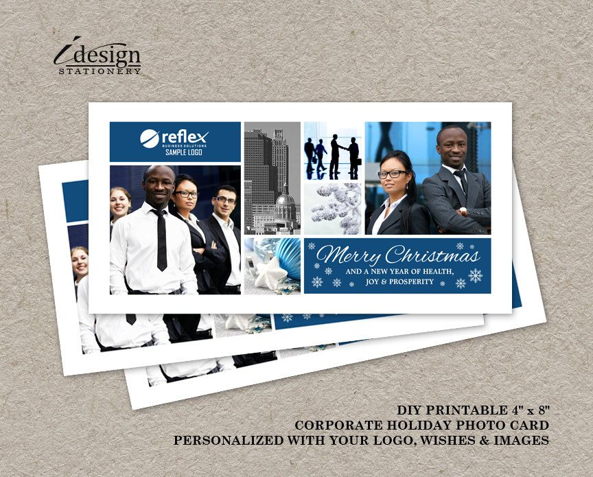 Business Holiday Photo Cards With Logo | Printable Corporate ...