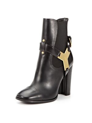 Black Leather YSL Thelma Bootie