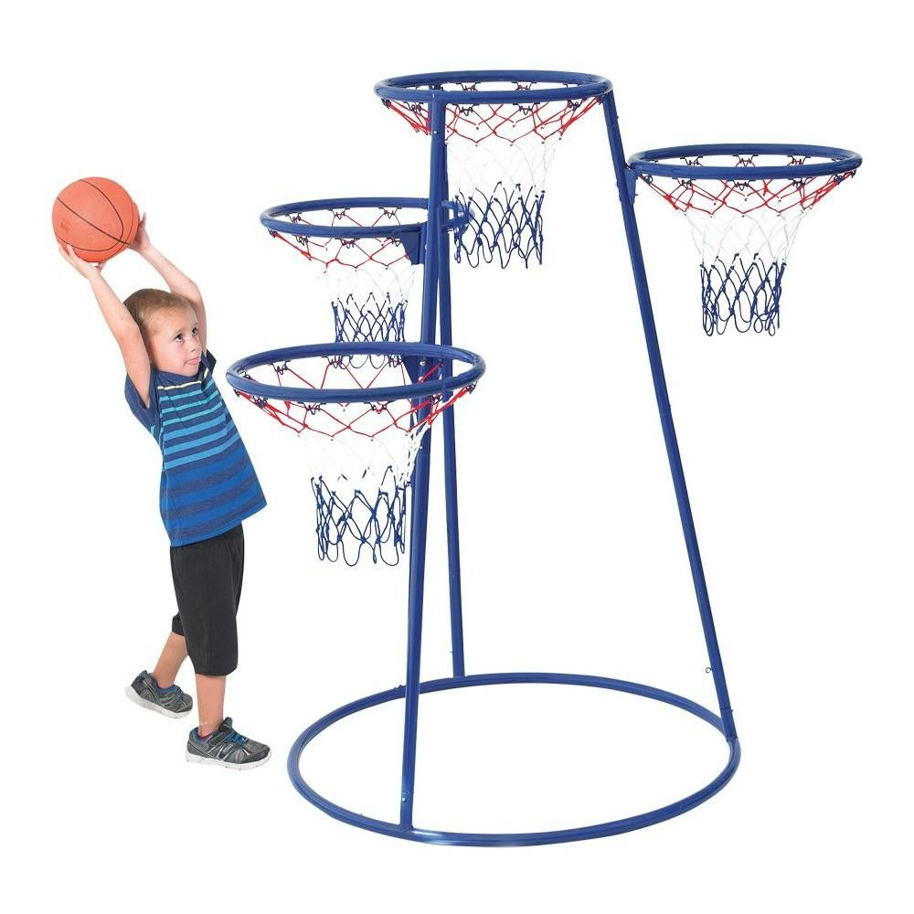 Children S Factory 4 Ring Basketball Stand With Storage Bag Bag Storage Storage Toddler Basketball