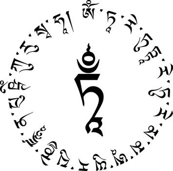 White Tara Mantra Circle Om Tare Tuttare Ture Mama Ayuh Punya Jana