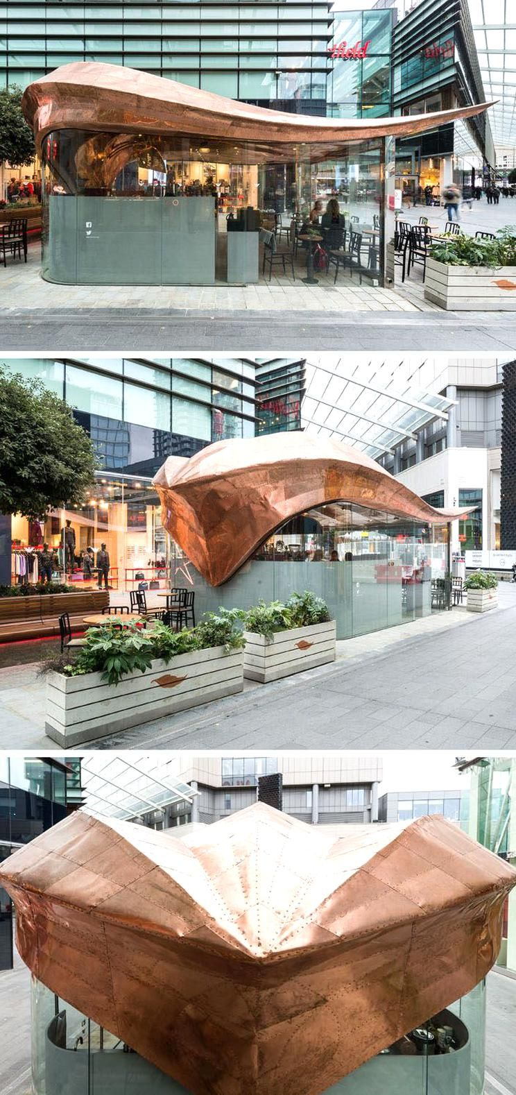 542 Copper Sections Were Used To Create The Curved Roof Of This London Cafe Contemporist In 2020 Roof Design Roof Architecture Architecture