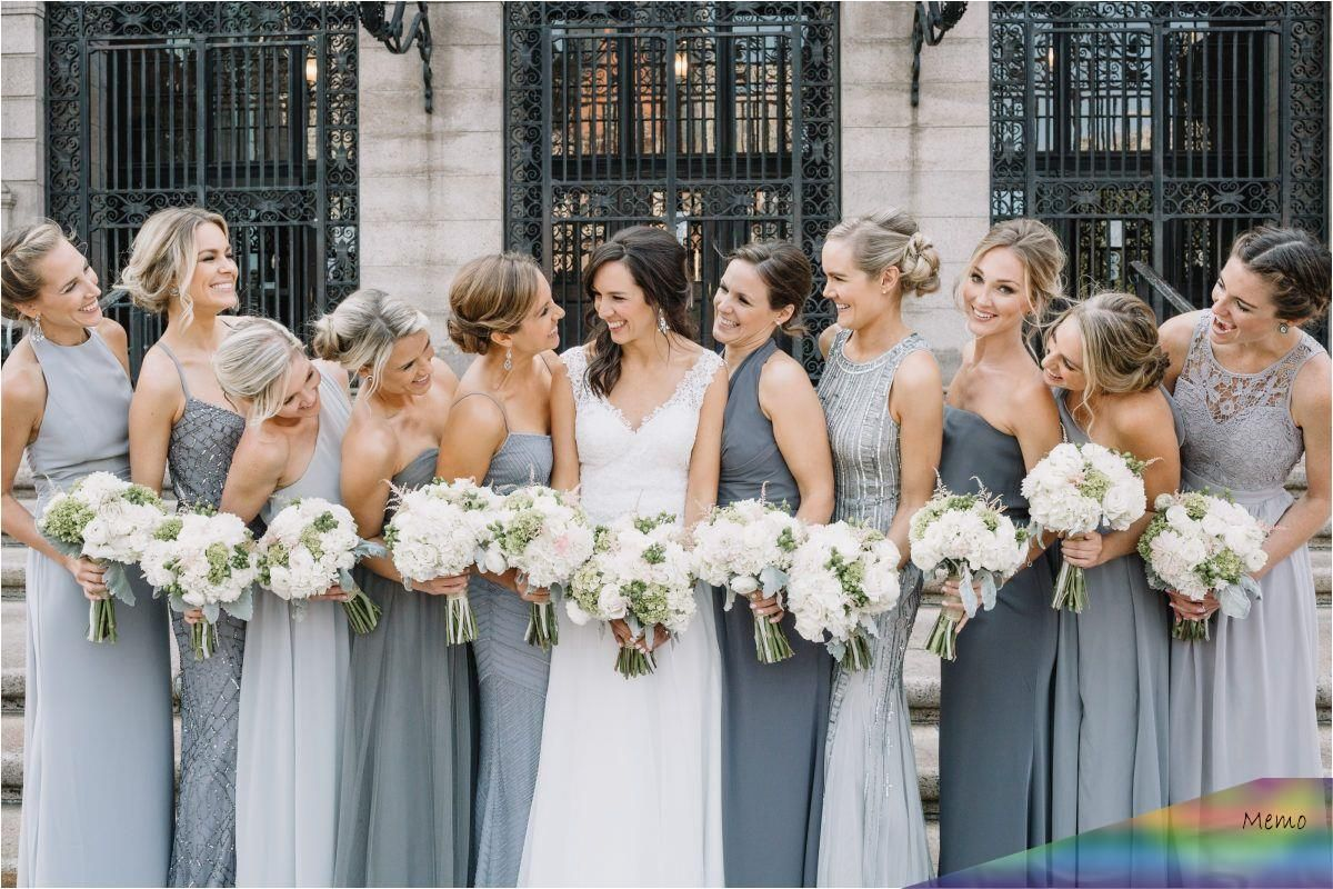 mar 25, 2020 - mismatched bridesmaids in grey for a city