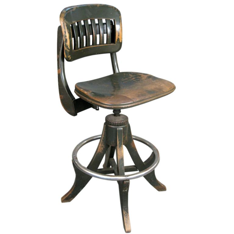 Antique Industrial Drafting Stool By Sikes Industrial