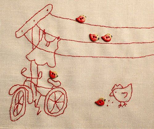 clothesline stitchery w/ buttons