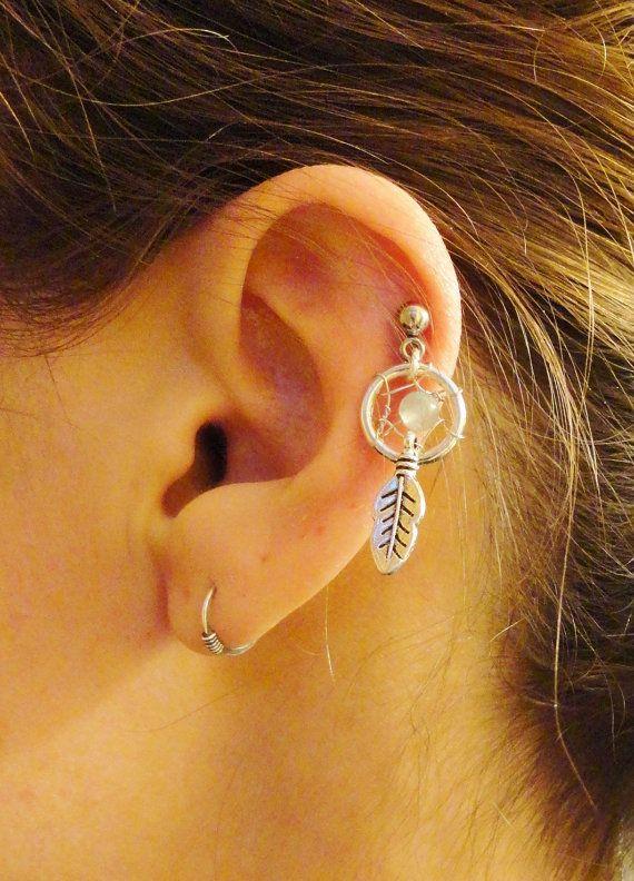 Dream Catcher Helix Earring Small Amazonite Dream Catcher Tragus Piercing Gemstone Cartilage 6