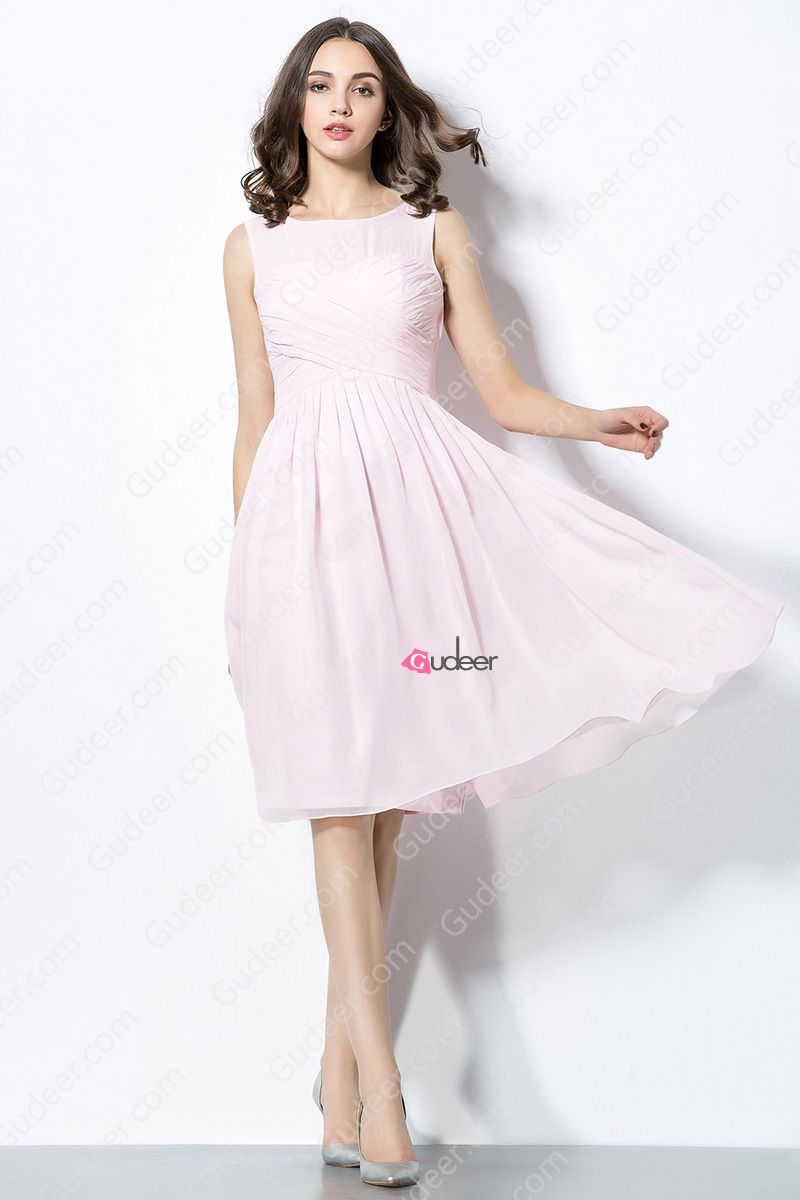 Candy Pink Knee Length Illusion Aline Bridesmaid Dress: Pink Knee Length Wedding Dresses At Reisefeber.org