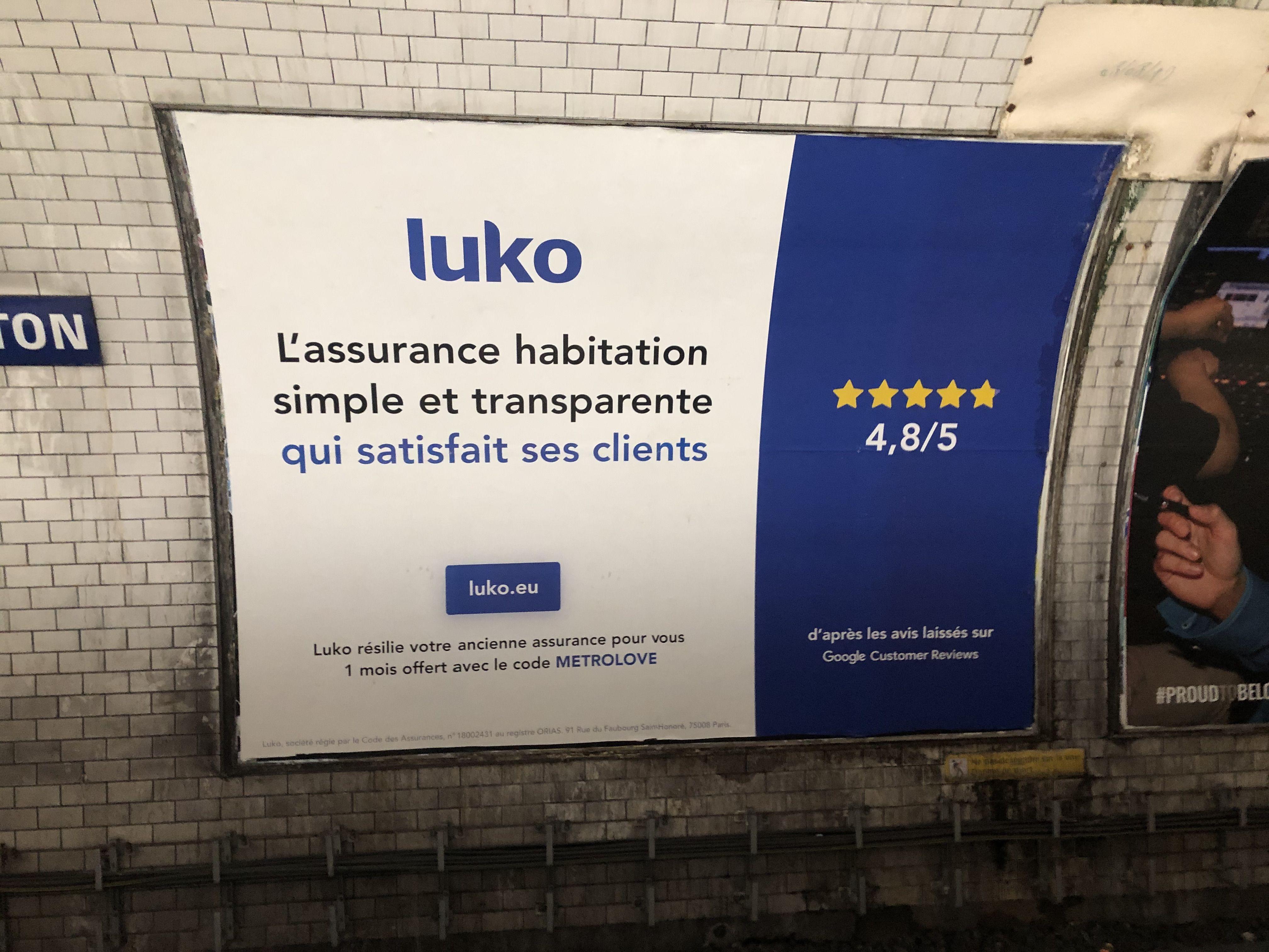 Annonceur Luko Lieu Paris Media Affichage Metro
