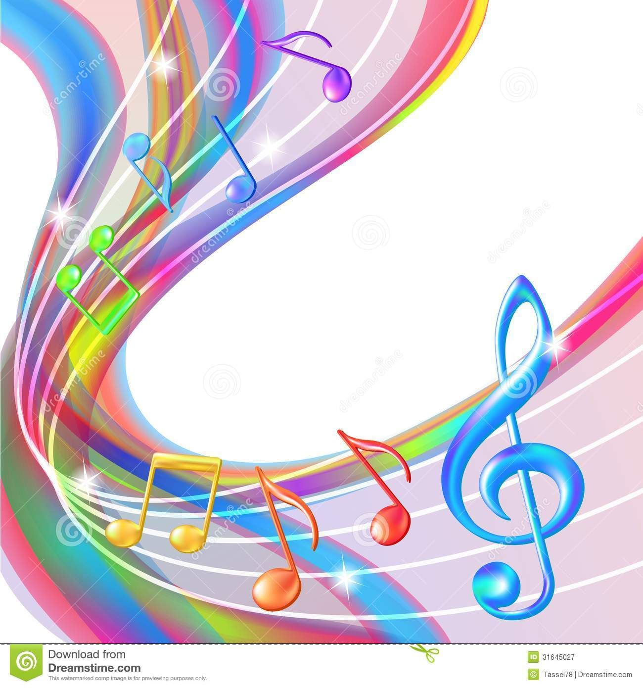 Colorful Abstract Notes Music Background  - Download From